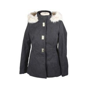 Maralyn Me Juniors Black Hooded Faux Fur-Trim Coat